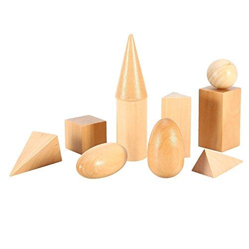 10Pcs Madera Sólidos Geométricos Aprendizaje de Matemáticas / Juguetes de Educación Temprana / Geometría Cognitiva Conjunto de Madera Puzzle Toy para Niños