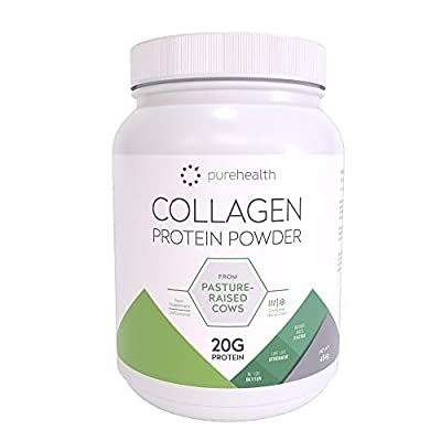 Pure Health Unflavored Collagen Powder 454g | 20g of Protein Per Serving | 100% Pasture Raised Hydrolysed Collagen