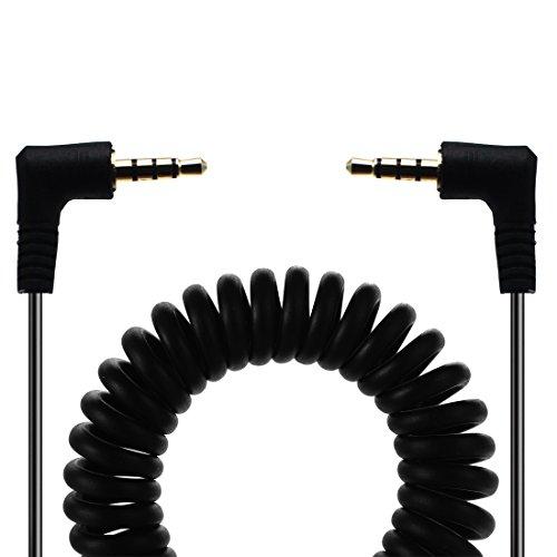 lokeke 90Degree 3,5mm TRRS macho a 3,5mm TRRS macho Audio primavera Cable para iPhone/iPhone 8/iPhone X/iPhone 7/iPhone 7Plus, iPad, Auriculares, ordenadores portátiles, PC, MP3, MP4y más, 1,5m
