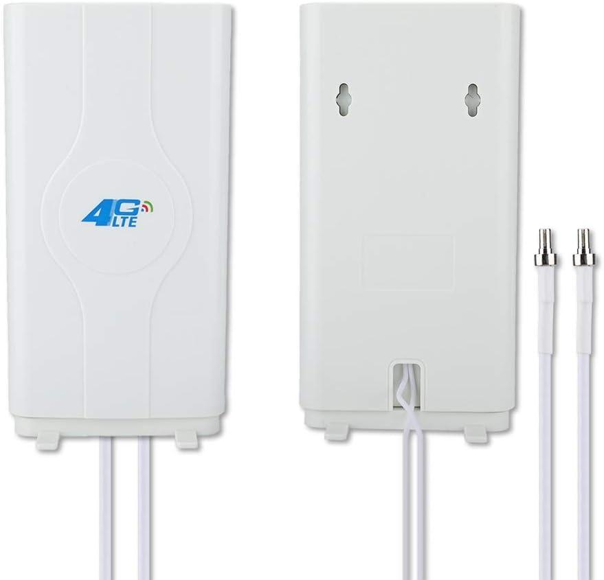 Diyeeni 4G LTE TS9 CRC9 SMA 88DBi 800MHz a 2600MHz Antena de Panel de Alta Ganancia, Doble Antena de Mimo con Cable de 2x2m, Amplificador de señal ...