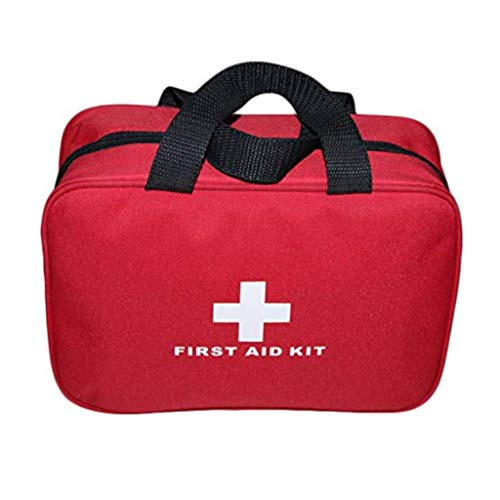 PAXLee Folding First Aid Bag Empty First Aid Tote Medical Storage Bag Red Foldable Bag for Emergency First Aid Kits First Aid Kit Empty (Red with Size 9.8x7.1x3.1Inch)