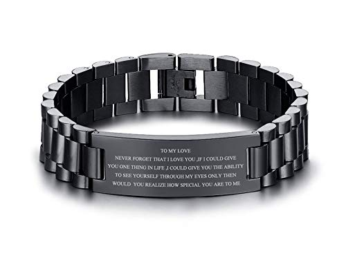 VNOX Personalized Engraved Love Quote Link Bracelet from Wife Anniversary Birthday Gifts to Lover Boyfriend Husband,Men's Anniversary Christmas Gift Ideas