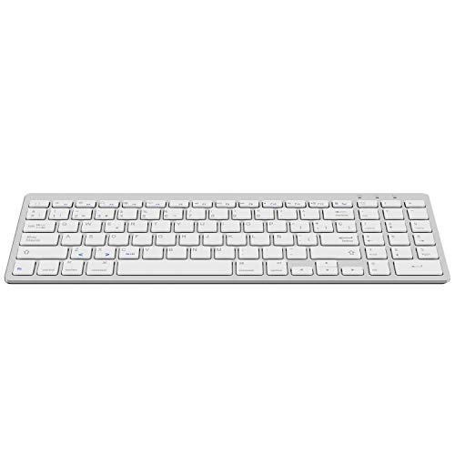 OMOTON Teclado Inalámbribo Compatible con iPad/iPad Pro/iPad Air y Todas Sistemas de iOS, Teclado Bluetooth Español con Teclado Numérico, Color Plata, NO Compatible con Macbook, Ni Windows