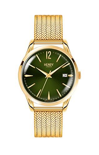 Henry London Unisex Datum klassisch Quarz Uhr mit Edelstahl Armband HL39-M-0102