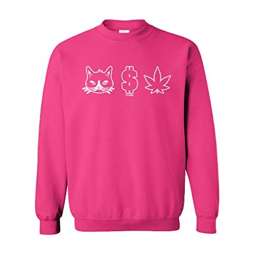 Pussy Money Weed - Cat Dollar Marijuana Unisex Crewneck Sweatshirt (Pink, Large)