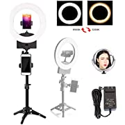 "10"" 3200K~6500K Dimmable Selfie Ring Light with Adjustable Light Stand,Makeup Mirror and Phone Holder, Perfect Desktop LED Lamp for Vlogs,YouTube Channel,Makeup,Salon …"