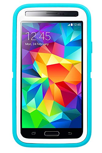 Rugged Protection Otterbox Defender Series Case for Samsung Galaxy S5 - Bulk Packaging - (Aqua Blue/White)