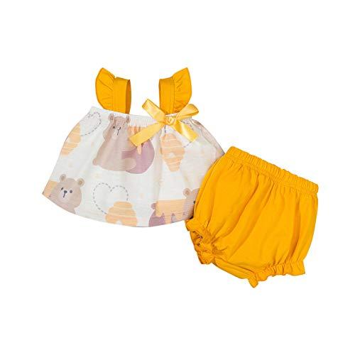 Julhold Conjunto de falda para beb recin nacido con volantes y correa para el hombro con lazo, pantalones cortos