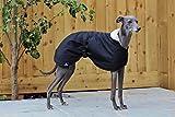 The Trendy Whippet Abrigo Impermeable con Forro Polar Negro Mate, con Correa de Clip Ajustable a Juego, Verdugo Italiano, mirthound