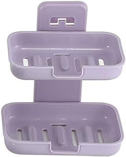 せっけん 吸盤二重層石鹸箱 排水壁吸込み式浴室壁掛けクリエイティブ浴室用ソープラック三色 (パープル)