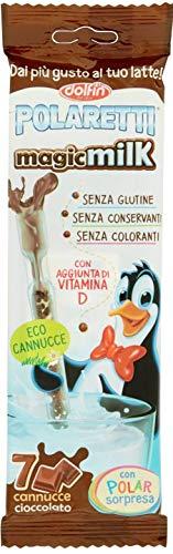 Dolfin - Polaretti MagicMilk Cannucce Cioccolato. Senza Conservanti, Senza Glutine e Senza Coloranti - 12 confezioni (84 Cannucce Polaretti)