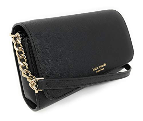 """Crossgrain leather with gold tone hardware; front flap closure with magnetic snap Raised Kate Spade New York logo on front flap; full length slip pocket on back Removable strap of chain and leather with drop of 21"""" Approximate dimensions: 7.5"""" L x 4...."""