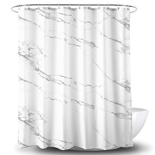Alumuk Duschvorhang Bedruckt, Anti-Schimmel, Wasserdichter, Waschbar Anti-Bakteriell Stoff Polyester Badewanne Vorhang mit 12 Duschvorhängeringen, 180x180cm, Mamor