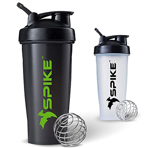 Spike Protein Shaker Blender Bottle for Whey Protein Mix, Cycling, Gym Water Bottle with Stainless Steel Blender Ball 700ml (Black)