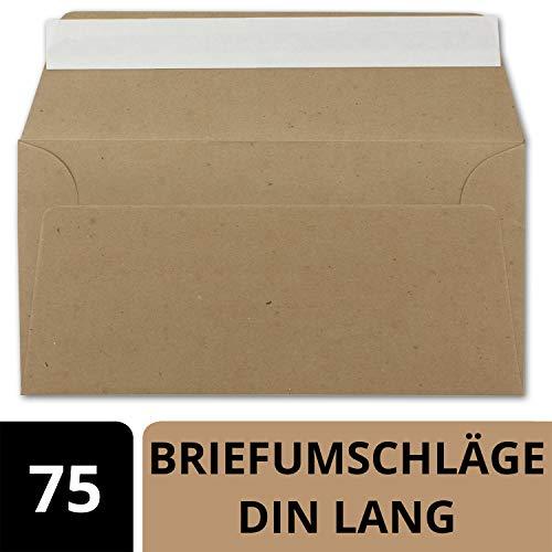 75x Kraftpapier Umschläge DIN Lang - Braun ÖKO - Haftklebung selbstklebend 11 x 22 cm - 120 g/m² Briefumschläge ohne Fenster aus Recycling Papier - von NEUSER PAPIER