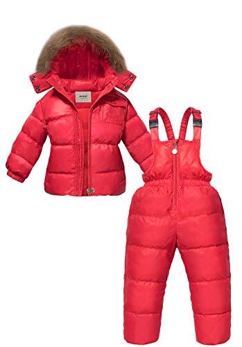 ZOEREA Trajes de Esquí para Niñas Chaquetas Niño Abrigos con Capucha + Pantalones de Nieve Invierno Ropa Set 2 Piezas (Rojo, 110)