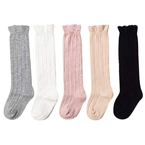 Epeius 5 Pair Pack Baby Girls Boys Uniform Knee High Socks Tube Ruffled Stockings Infants and Toddlers for 9-18 Months,Black White Grey Beige Duty Pink