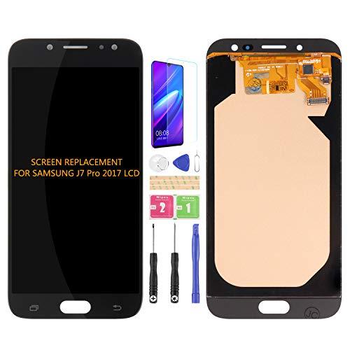 Para Samsung Galaxy J7 Pro 2017 J730 J730F DS J730G DS J730GM DS Pantalla LCD Digitalizador Kit de montaje de vidrio, película templada, pegamento y herramientas (negro)