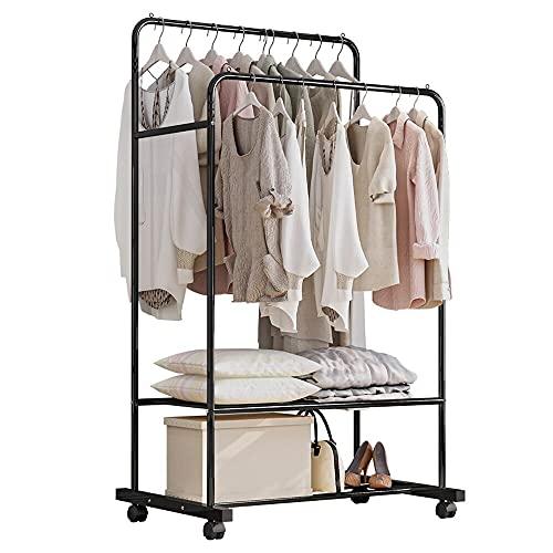Kleiderständer, Garderobenständer auf Rollen, mit 2 Kleiderstangen, 2 Ablage für Boxen (Schwarz)