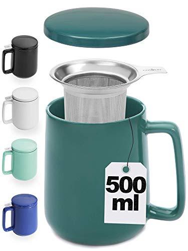Teetasse mit Sieb und Deckel - Keramik Blaugrün - Hält Lange warm - 500ml XXL Groß - Spülmaschinenfest