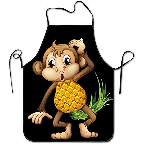 Küchenschürze,Latzschürze,Backschürze,Kochschürze,AFFE Ananas Emoji Frauen Männer Grill Schürze Zum Malen,Grillen,Basteln,Kochen,Gärtnern,Backen,Friseur,Servieren