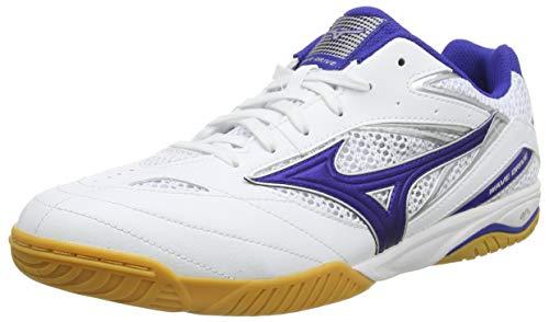 Mizuno Unisex-Erwachsene Wave Drive 8 Tischtennisschuh, Weiß/Reflexblau, 44.5 EU