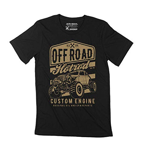 Ultrabasic Camiseta de Hombre Offroad Hotrod - Custom Engine - Personalizado (XS, Negro)