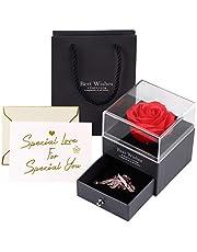 Becoyou Rosa Eterna, Flores Preservadas con Broche Flores Artificiales Rosa de Cristal Rosa Preservada para la Boda del día de la Madre de San Valentín Regalo Regalos para Mujer Madre