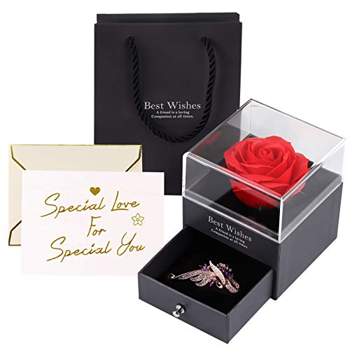 Becoyou Rosa Eterna Plástico, Rosa Preservada Regalos Originales para Mujer Regalos para...