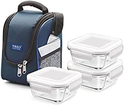 Treo by Milton Health First 3 Pieces Square Container Glass Tiffin, 300 ml, Set of 3, Transparent