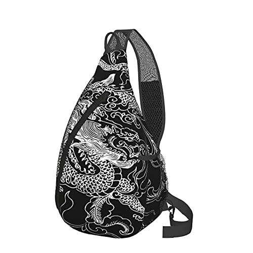 Mochila bandolera con diseño de dragón chino, hecha a mano, ligera, impermeable, bolsa de hombro, unisex, para viajes, senderismo, mochila pequeña para mujeres, hombres, regalos