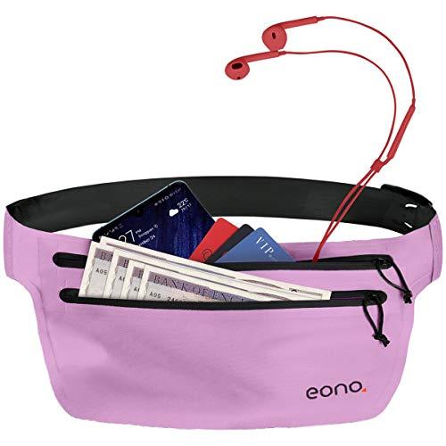 Eono Essentials - Cinturón portaobjetos Resistente al Agua con Banda elástica Ajustable para Hacer Ejercicio, Running, rutas en Bici y Actividades al Aire Libre (Rosa y Negro)