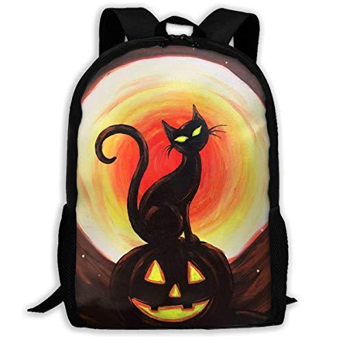 FGHJY Hochleistungs-Unisex-Rucksack für Erwachsene Augen leuchten schwarz Katze auf Halloween-Büchertasche Reisetasche Schultaschen Laptoptasche