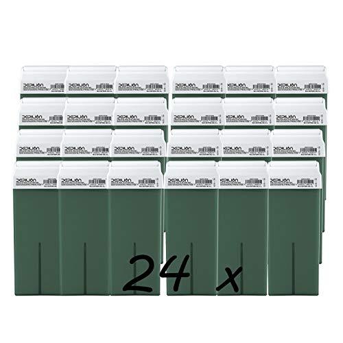 Caja de 24 x Cera Roll On cartuchos de 100ml Aloe Vera - Alta calidad - Roll-on Cera para depilación
