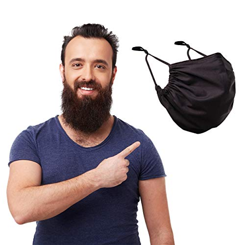 MASHELE XL Summer Face and Beard Headwear Reusable Cloth Covering for Dust Outdoors (Extra Large Black)
