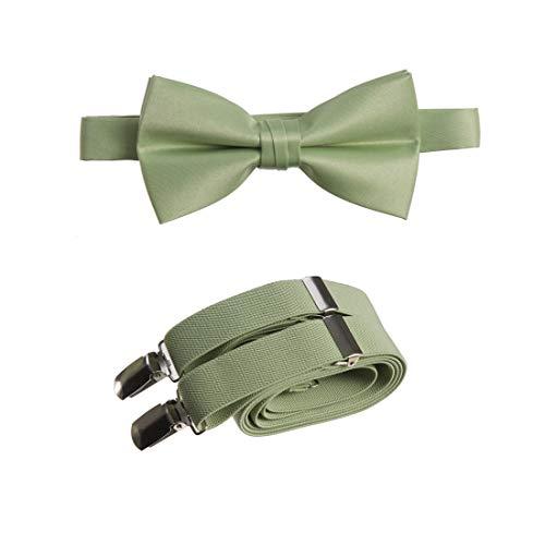 "Tuxgear Mens Bow Tie and Adjustable Stretch Suspender Set, Sage, 48"" Mens (Sage, 48"" Mens)"