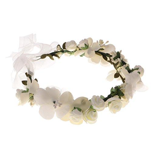 Baoblaze Frauen Mädchen Hochzeit Haar Blumengirlande Stirnband Blumenkranz Haarband Haarkranz Blumenkrone Hochzeiten Party Festivals Kröne - Weiß