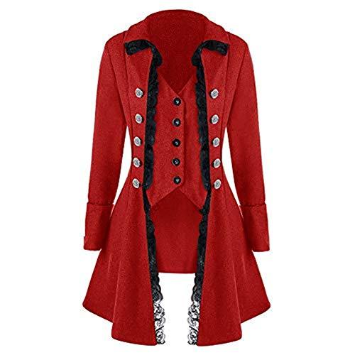 iHENGH Damen Herbst Winter Bequem Mantel Lässig Mode Jacke Frauen Lange Hülse Retro Spitze Ordnungs Knopf herauf Weinlese unregelmäßigen Frack Outwear