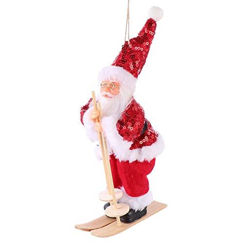 TOYANDONA Christmas Santa Plush Toy Santa on Skateboard Figurines Skiing Statue Xmas Tree Hanging Pendant Home Desktop Collectible Dolls 22x10x6cm(Red)