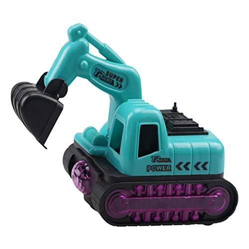 Lukame Giocattolo Escavatore Elettrico Macchinina Flash Giocattolo Modello Veicolo Elettrico Universale Di Ingegneria(verde)