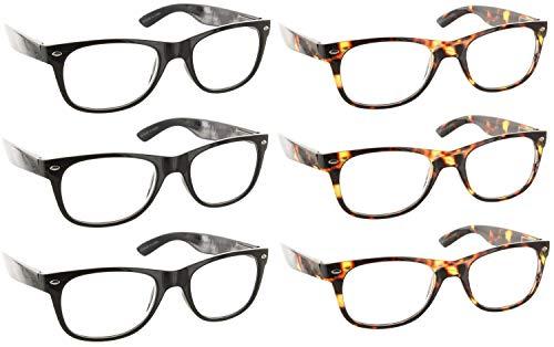 Reading Glasses 1.50 | 6 Pack Spring Hinge Trendy Readers for Men & Women [6 Pack Clear, 1.50]