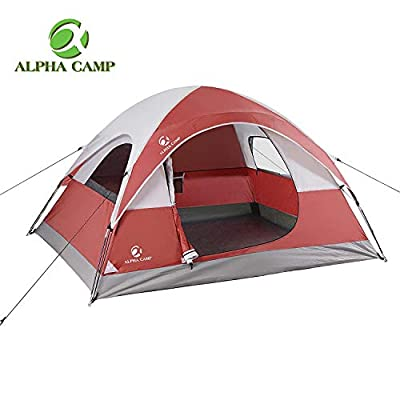 ALPHA CAMP 3 Person Camping Tent - 7' x 8' Red