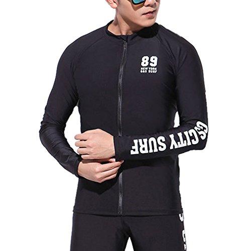 emansmoer Homme Compression Élastique Manches Longues Surf Plongée Natation T-Shirt Sport Nautique Quick Dry Tee Tops (Medium, Noir)