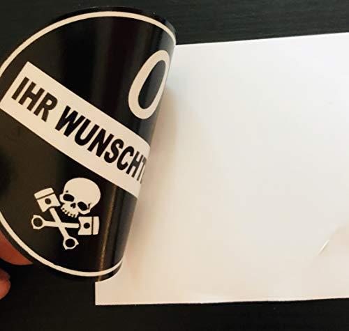 Generic Feinstaubplakette-Schwarz-Umweltplakette mit Wunschtext KFZ Kennzeichen Aufkleber-Sticker-Folie (Für Scheiben Innenverklebung (Wie eine Handelsübliche Plakette)
