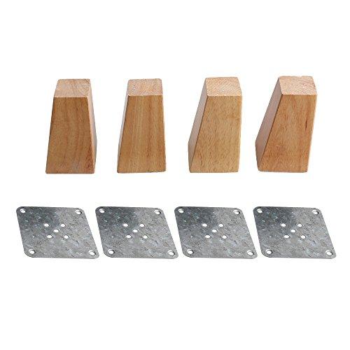 BQLZR 10 cm en bois meubles Cabinet jambe Pieds carrés de remplacement avec installation Semelle Fer à Repasser Lot de 4