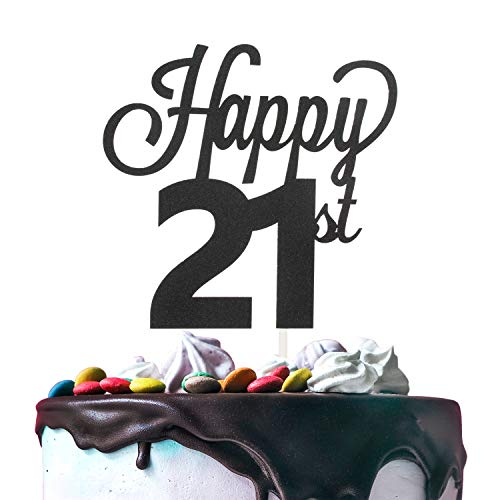 LINGTEER Happy 21st Birthday Black Cake Topper Perfect for Cheers to 21 Years Old Birthday Party Gift Decorations Sign.