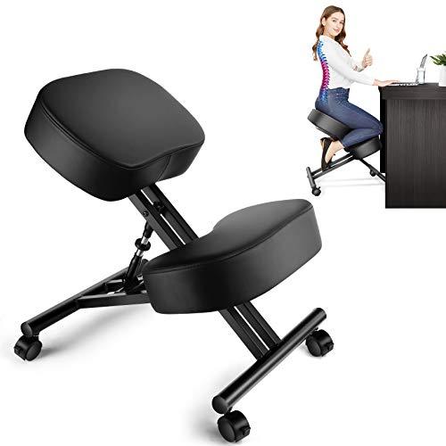 Sedia ergonomica in ginocchio, sedia correttiva postura, sgabello regolabile per casa e ufficio, allevia il dolore alla schiena e al collo, migliora la postura.