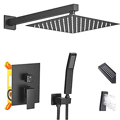 Rainfall Shower System 12 Inch Matte Black Rain Showerhead and Handheld Shower Wand Combo for Bathroom,High Pressure Shower Faucet Kits,360°Rotation Shower Fixture Set with Hi-tech Water Saving