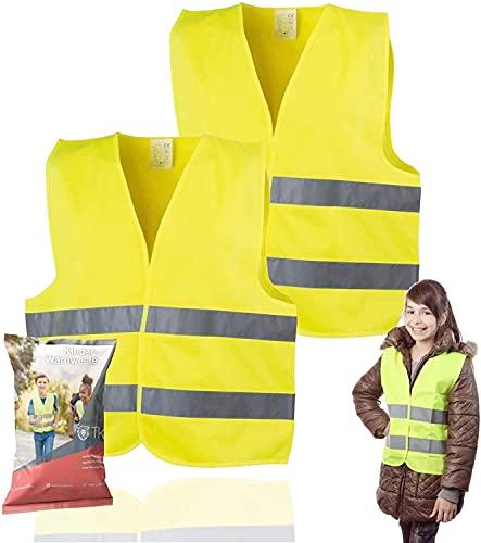 TK Gruppe Timo Klingler 2X Warnweste XS gelb, für Kinder - Jungen & Mädchen - EN471 Pannenweste 2021 Unfallweste Sicherheitsweste ultrahell & starkreflektierend Schulanfänger (2X)