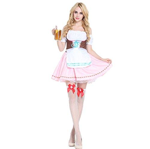 top totaal heerlijk kant tot voorzijde bier meisje oktoberfest kostuum met schort, M 8-10, Multi kleuren